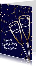 Nieuwjaarskaart champagne goudlook  confetti