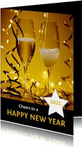 Nieuwjaarskaart champagne 'happy new year' 2021