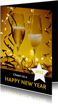 Nieuwjaarskaart champagne 'happy new year' 2022