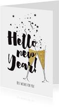 Nieuwjaarskaart champagne - LO