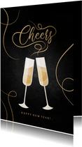 Nieuwjaarskaart champagne met gouden linten