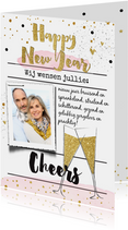 Nieuwjaarskaart  champagneglazen goud watercolor
