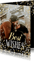 Nieuwjaarskaart confetti grote foto Best Wishes