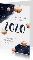 Nieuwjaarskaart corona oliebol 2020 2021 sterren