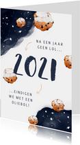 Nieuwjaarskaart corona oliebol 2021 2022 sterren