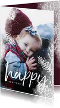 Nieuwjaarskaart dennentakje wit met foto achtergrond