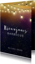 Nieuwjaarskaart een uitnodiging voor een barbecue