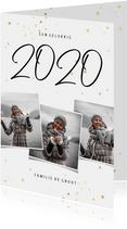 Nieuwjaarskaart fotocollage 2020 met gouden sterren