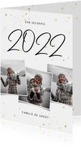 Nieuwjaarskaart fotocollage 2022 met gouden sterren