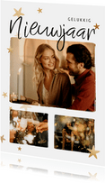 Nieuwjaarskaart fotocollage 3 foto's met sterren
