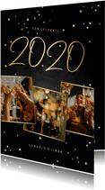 Nieuwjaarskaart fotocollage handgeschreven 2020 krijtbord