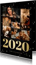 Nieuwjaarskaart fotocollage met gouden 2020 en sterren