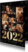 Nieuwjaarskaart fotocollage met gouden 2022 en sterren