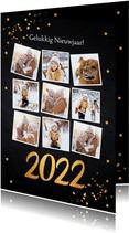 Nieuwjaarskaart fotocollage zwart confetti goudlook