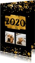 Nieuwjaarskaart foto's gouden vlak '2020' confetti