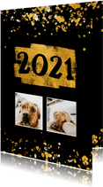 Nieuwjaarskaart foto's gouden vlak '2021' confetti