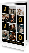 Nieuwjaarskaart gouden 2020 met vakjes en foto's