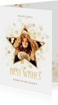 Nieuwjaarskaart gouden ster stijlvol