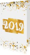 Nieuwjaarskaart gouden vlak '2019' confetti