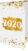 Nieuwjaarskaart gouden vlak '2020' confetti