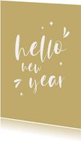 Nieuwjaarskaart handlettering hello new year
