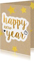 Nieuwjaarskaart happy new year gold 2020