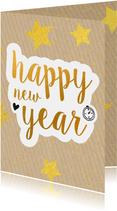 Nieuwjaarskaart happy new year gold