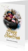 Nieuwjaarskaart Happy New year in goud