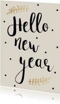 Nieuwjaarskaart Hello New year