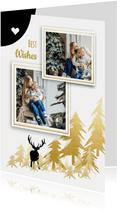Nieuwjaarskaart herten bomen fotolijst