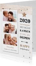 Nieuwjaarskaart houtlook met fotocollage en sterren