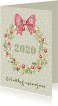 Nieuwjaarskaart krans en gemberkoek