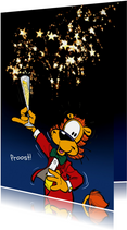 Nieuwjaarskaart Loeki proost Champagne - A