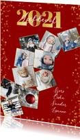 Nieuwjaarskaart met 10 foto's collage van het jaar