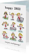 Nieuwjaarskaart met 9 figuurtjes met goede voornemens