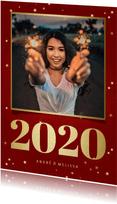Nieuwjaarskaart met foto, gouden 2020 en sterren