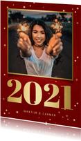 Nieuwjaarskaart met foto, gouden 2021 en sterren