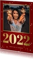 Nieuwjaarskaart met foto, gouden 2022 en sterren