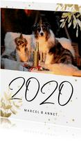 Nieuwjaarskaart met foto, gouden sterren en 2020
