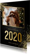Nieuwjaarskaart met foto goudlook 2020 en spetters