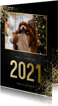 Nieuwjaarskaart met foto goudlook 2021 en spetters