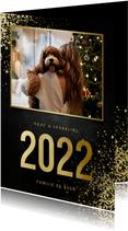 Nieuwjaarskaart met foto goudlook 2022 en spetters