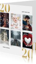 Nieuwjaarskaart met fotocollage en gouden 2020