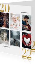Nieuwjaarskaart met fotocollage en gouden 2022