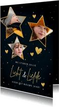 Nieuwjaarskaart met foto's in sterren liefde en licht