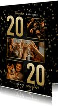 Nieuwjaarskaart met gouden 2020, sterren en fotocollage