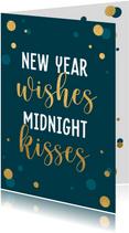 Nieuwjaarskaart met gouden confetti