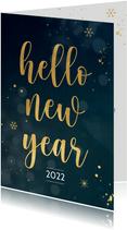 Nieuwjaarskaart met gouden sneeuwvlokken