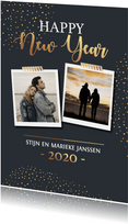 Nieuwjaarskaart met goudlook stipjes