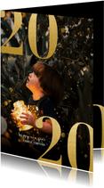 Nieuwjaarskaart met grote foto en gouden 2020